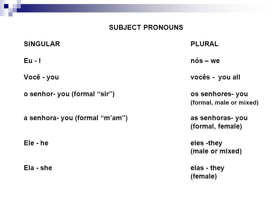 SINGULARPLURAL Eu - Inós – we Você - youvocês - you all o senhor- you (formal sir)os senhores- you (formal, male or mixed) a senhora- you (formal mam)