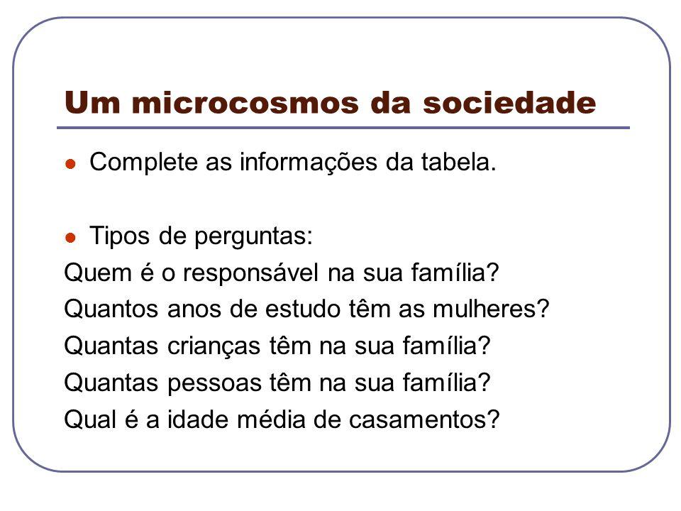 Um microcosmos da sociedade Complete as informações da tabela. Tipos de perguntas: Quem é o responsável na sua família? Quantos anos de estudo têm as