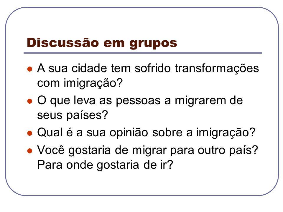 Discussão em grupos A sua cidade tem sofrido transformações com imigração? O que leva as pessoas a migrarem de seus países? Qual é a sua opinião sobre