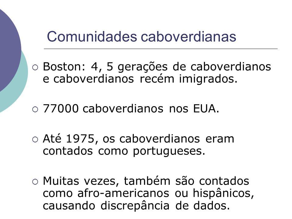Comunidades caboverdianas Boston: 4, 5 gerações de caboverdianos e caboverdianos recém imigrados. 77000 caboverdianos nos EUA. Até 1975, os caboverdia