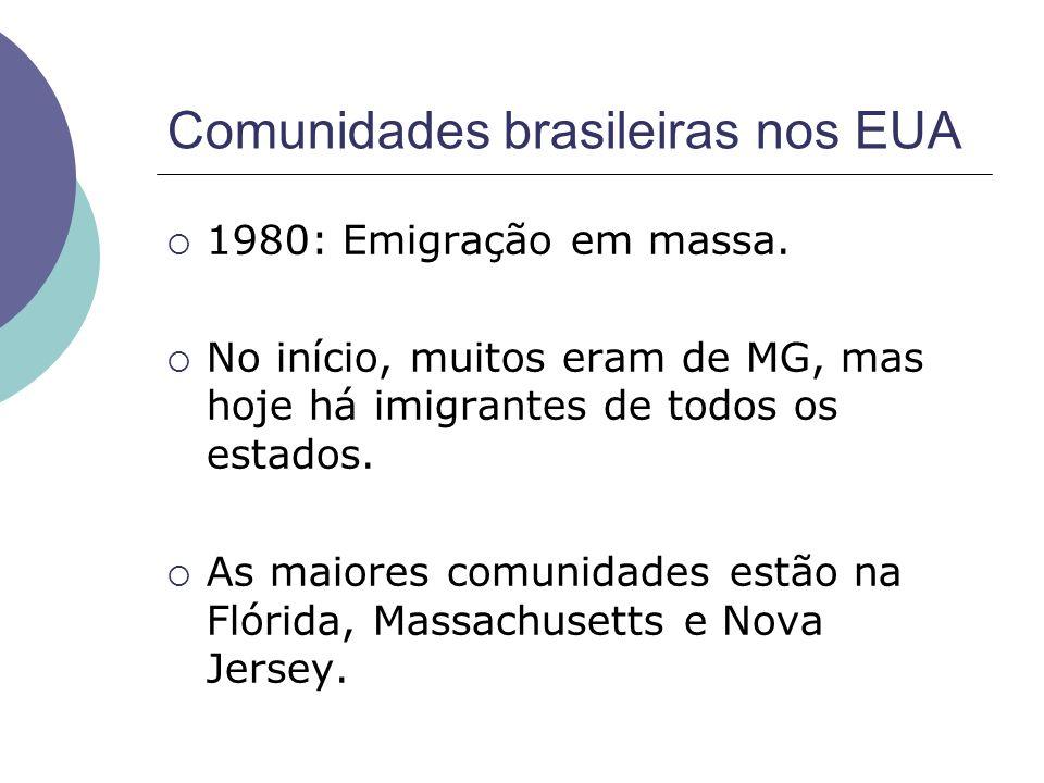 Comunidades brasileiras nos EUA 1980: Emigração em massa. No início, muitos eram de MG, mas hoje há imigrantes de todos os estados. As maiores comunid
