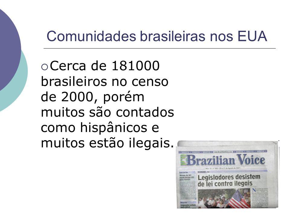 Cerca de 181000 brasileiros no censo de 2000, porém muitos são contados como hispânicos e muitos estão ilegais. Comunidades brasileiras nos EUA
