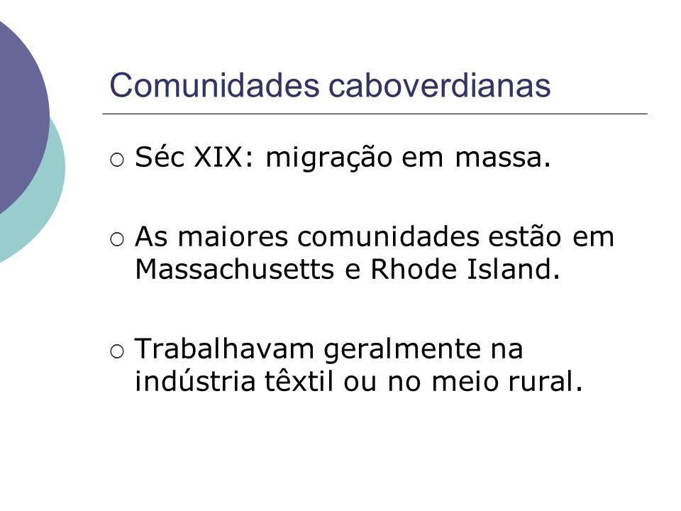 Comunidades caboverdianas Séc XIX: migração em massa. As maiores comunidades estão em Massachusetts e Rhode Island. Trabalhavam geralmente na indústri