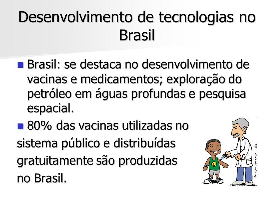Desenvolvimento de tecnologias no Brasil Brasil: se destaca no desenvolvimento de vacinas e medicamentos; exploração do petróleo em águas profundas e
