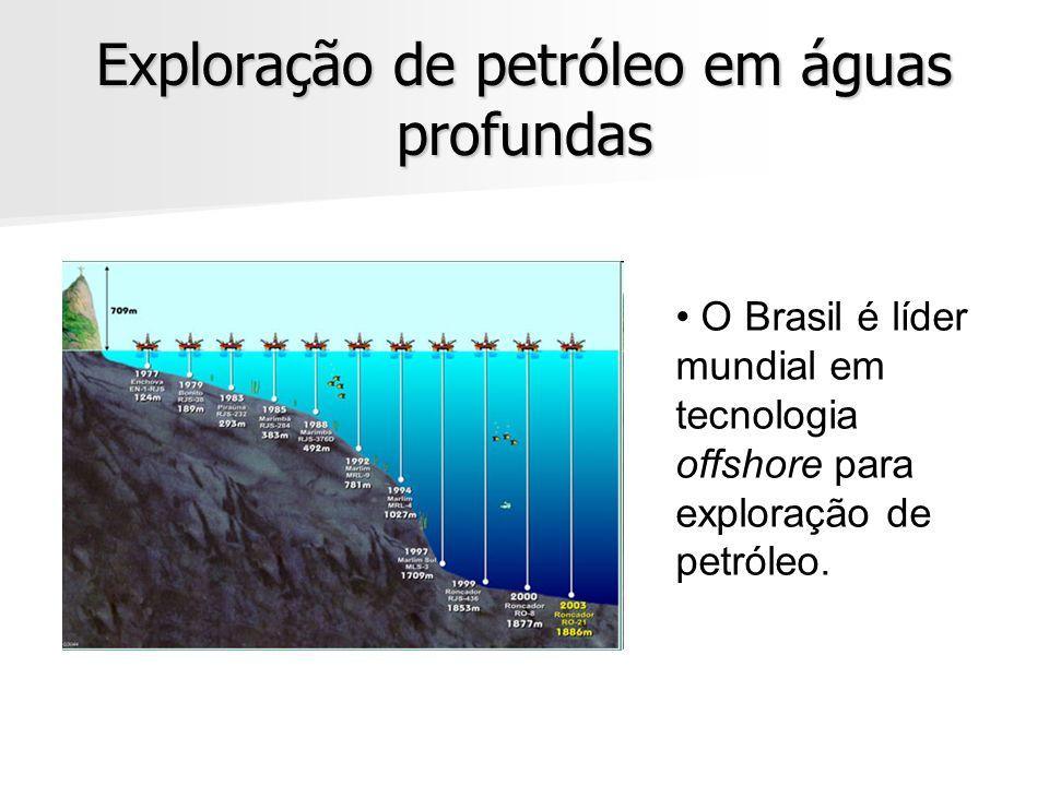 Exploração de petróleo em águas profundas O Brasil é líder mundial em tecnologia offshore para exploração de petróleo.