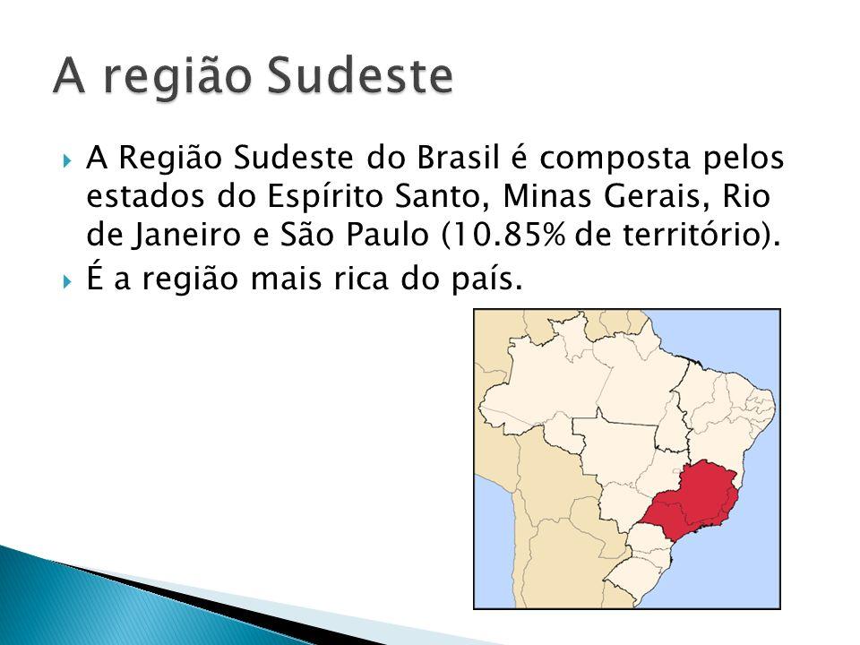 A Região Sudeste do Brasil é composta pelos estados do Espírito Santo, Minas Gerais, Rio de Janeiro e São Paulo (10.85% de território). É a região mai