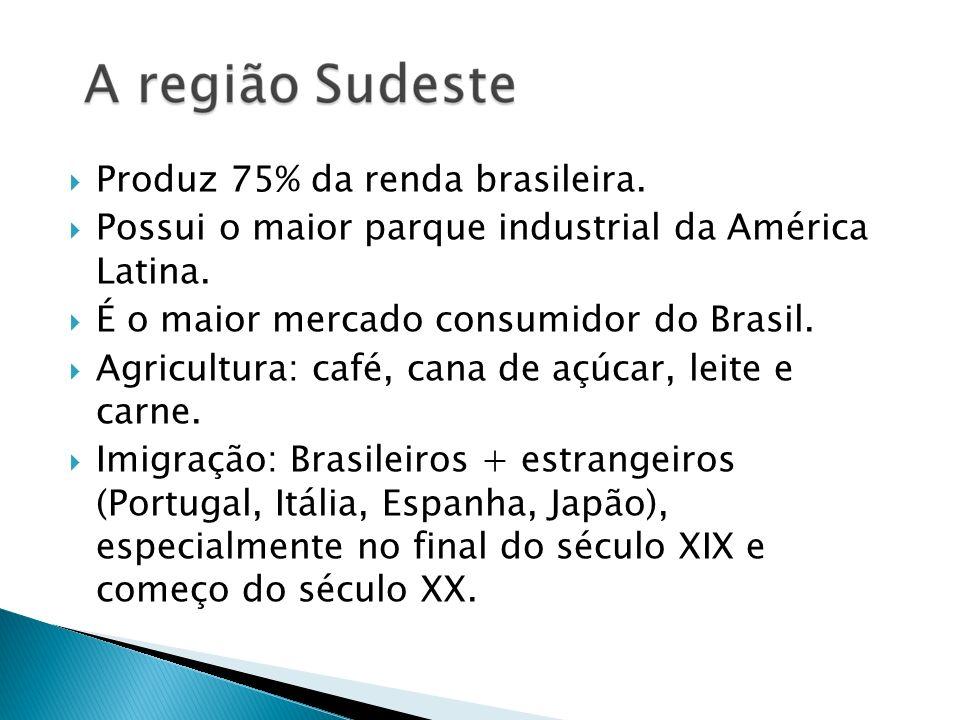 Produz 75% da renda brasileira. Possui o maior parque industrial da América Latina. É o maior mercado consumidor do Brasil. Agricultura: café, cana de