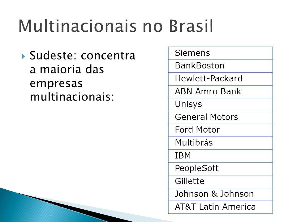 Sudeste: concentra a maioria das empresas multinacionais: Siemens BankBoston Hewlett-Packard ABN Amro Bank Unisys General Motors Ford Motor Multibr á