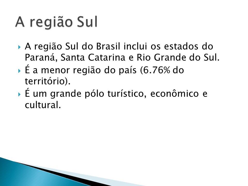A região Sul do Brasil inclui os estados do Paraná, Santa Catarina e Rio Grande do Sul. É a menor região do país (6.76% do território). É um grande pó