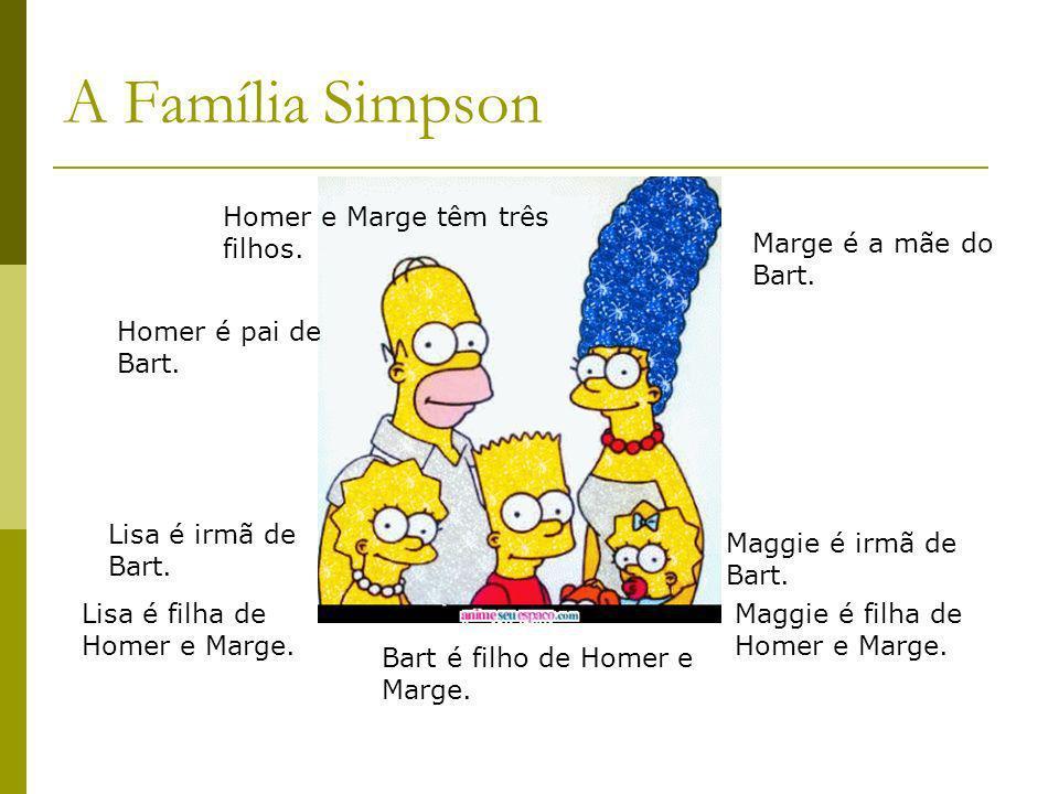 A Família Simpson Marge é a mãe do Bart. Lisa é irmã de Bart. Homer é pai de Bart. Maggie é irmã de Bart. Bart é filho de Homer e Marge. Lisa é filha