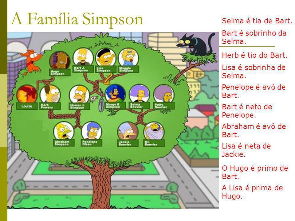 Selma é tia de Bart. Herb é tio do Bart. Penelope é avó de Bart. Abraham é avô de Bart. Bart é sobrinho da Selma. Lisa é sobrinha de Selma. Bart é net