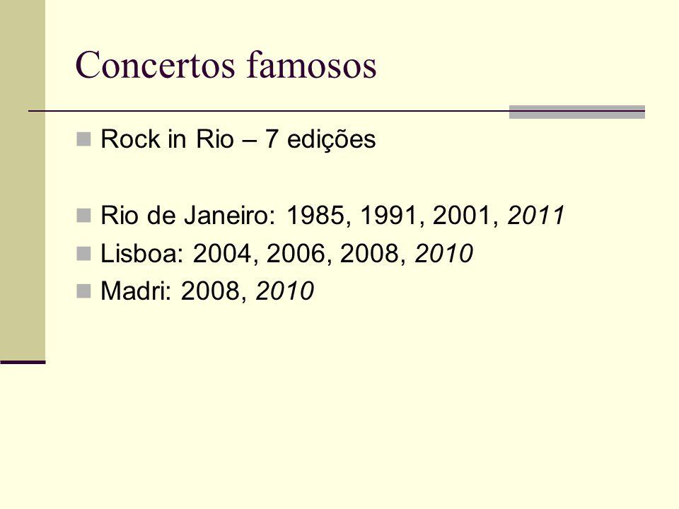 Concertos famosos Rock in Rio – 7 edições Rio de Janeiro: 1985, 1991, 2001, 2011 Lisboa: 2004, 2006, 2008, 2010 Madri: 2008, 2010