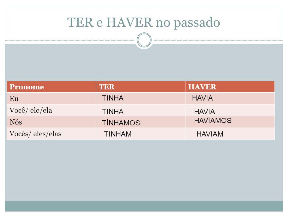 TER e HAVER no passado PronomeTERHAVER Eu Você/ ele/ela Nós Vocês/ eles/elas TINHA TÍNHAMOS TINHAM HAVIA HAVÍAMOS HAVIAM