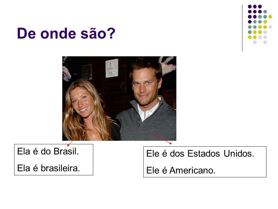 De onde você é.Eu sou de Curitiba. Eu sou do Brasil.