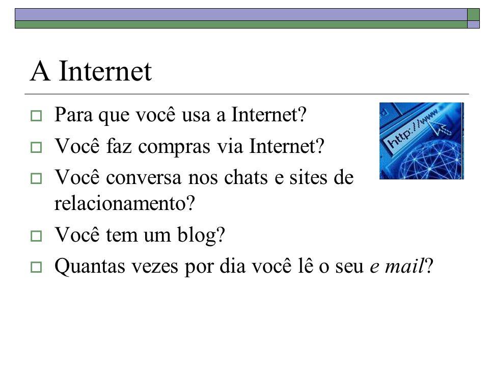 A Internet Para que você usa a Internet. Você faz compras via Internet.