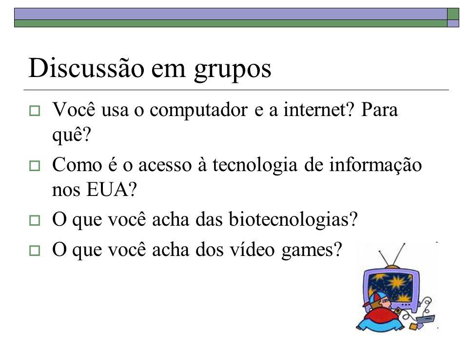 Discussão em grupos Você usa o computador e a internet.