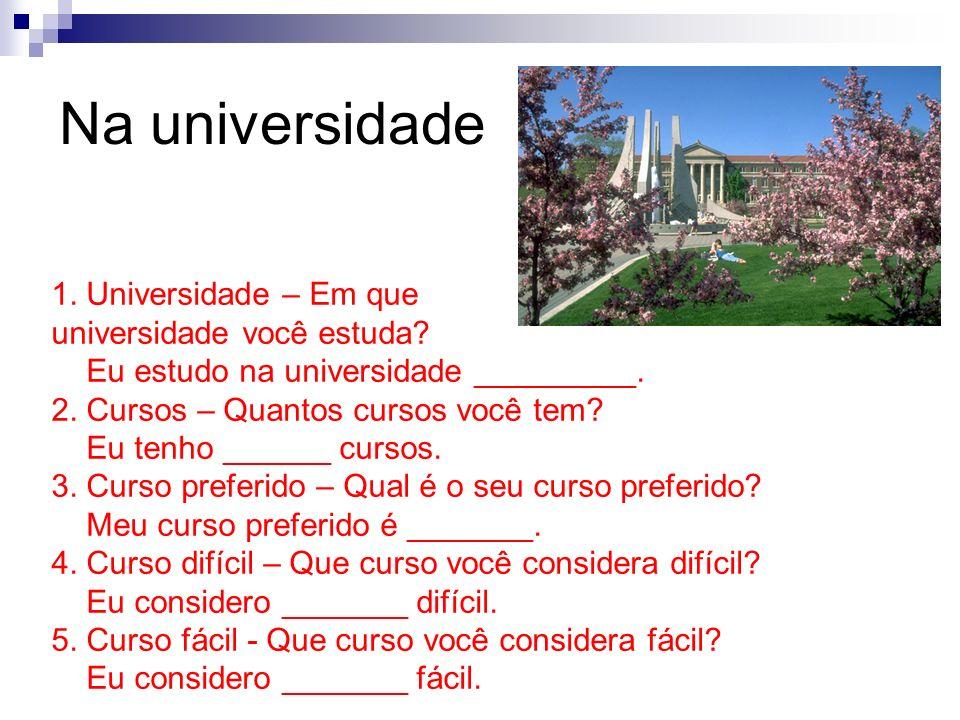 1. Universidade – Em que universidade você estuda? Eu estudo na universidade _________. 2. Cursos – Quantos cursos você tem? Eu tenho ______ cursos. 3