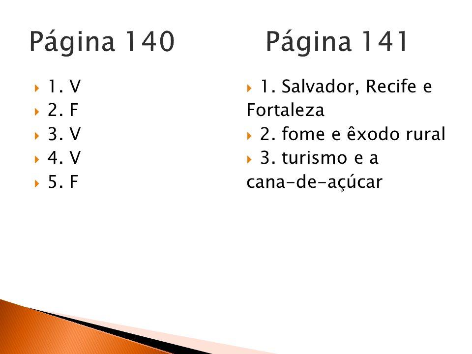 1. V 2. F 3. V 4. V 5. F 1. Salvador, Recife e Fortaleza 2. fome e êxodo rural 3. turismo e a cana-de-açúcar