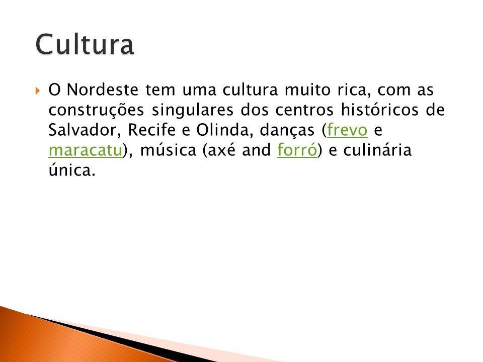 O Nordeste tem uma cultura muito rica, com as construções singulares dos centros históricos de Salvador, Recife e Olinda, danças (frevo e maracatu), m