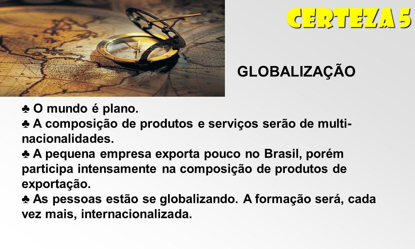 Certeza 5 GLOBALIZAÇÃO O mundo é plano. A composição de produtos e serviços serão de multi- nacionalidades. A pequena empresa exporta pouco no Brasil,