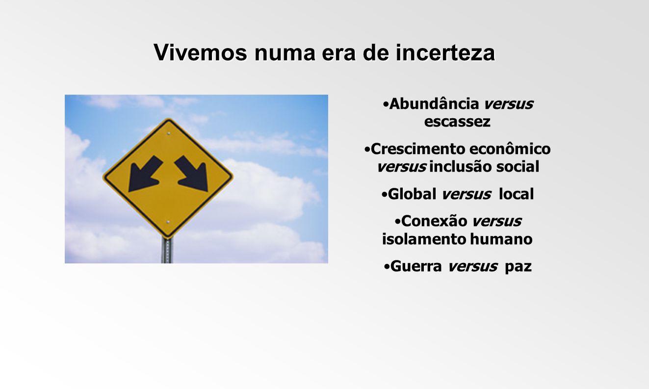 Vivemos numa era de incerteza Abundância versus escassez Crescimento econômico versus inclusão social Global versus local Conexão versus isolamento hu