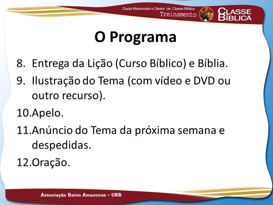 O Programa 8.Entrega da Lição (Curso Bíblico) e Bíblia. 9.Ilustração do Tema (com vídeo e DVD ou outro recurso). 10.Apelo. 11.Anúncio do Tema da próxi