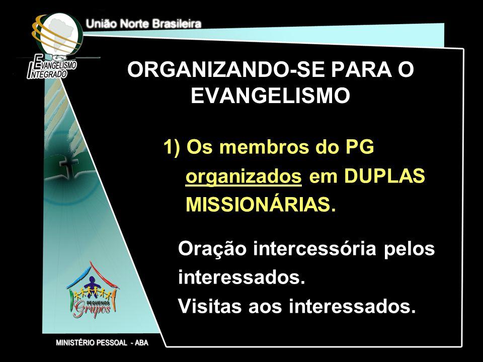 ORGANIZANDO-SE PARA O EVANGELISMO 1) Os membros do PG organizados em DUPLAS MISSIONÁRIAS. Oração intercessória pelos interessados. Visitas aos interes