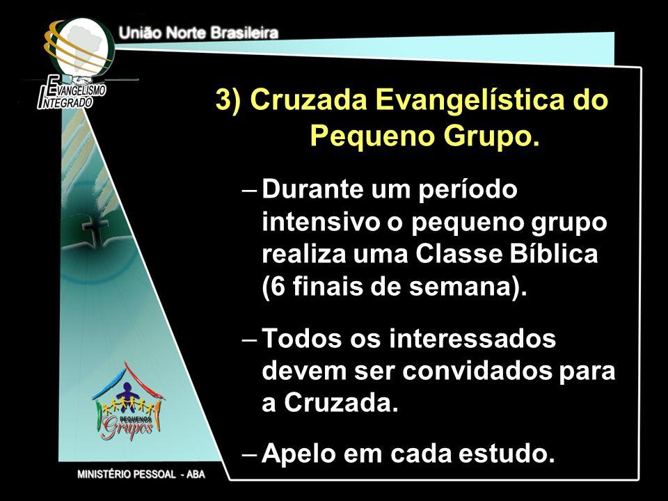 3) Cruzada Evangelística do Pequeno Grupo. –Durante um período intensivo o pequeno grupo realiza uma Classe Bíblica (6 finais de semana). –Todos os in