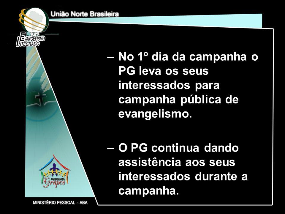 –No 1º dia da campanha o PG leva os seus interessados para campanha pública de evangelismo. –O PG continua dando assistência aos seus interessados dur