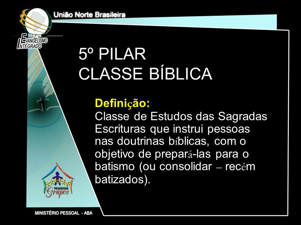 5º PILAR CLASSE BÍBLICA Defini ç ão: Classe de Estudos das Sagradas Escrituras que instrui pessoas nas doutrinas b í blicas, com o objetivo de prepar