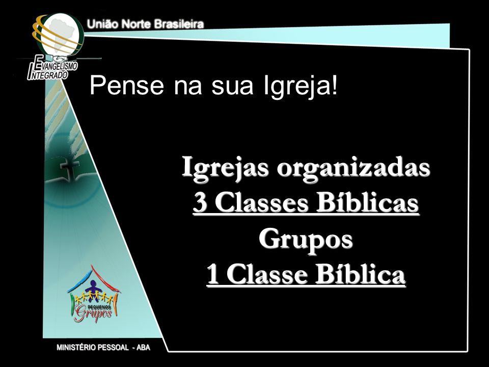 Pense na sua Igreja! Igrejas organizadas 3 Classes Bíblicas Grupos 1 Classe Bíblica