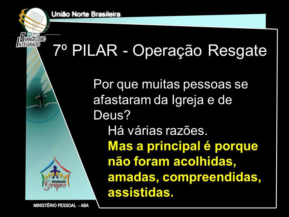 7º PILAR - Operação Resgate Por que muitas pessoas se afastaram da Igreja e de Deus? Há várias razões. Mas a principal é porque não foram acolhidas, a