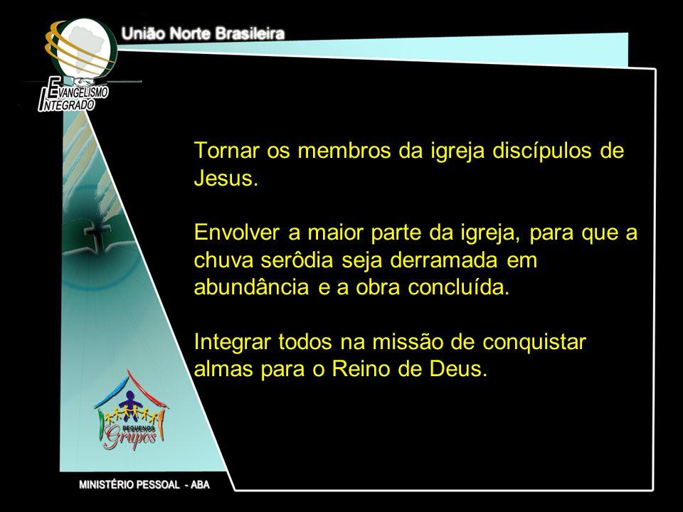 Tornar os membros da igreja discípulos de Jesus. Envolver a maior parte da igreja, para que a chuva serôdia seja derramada em abundância e a obra conc