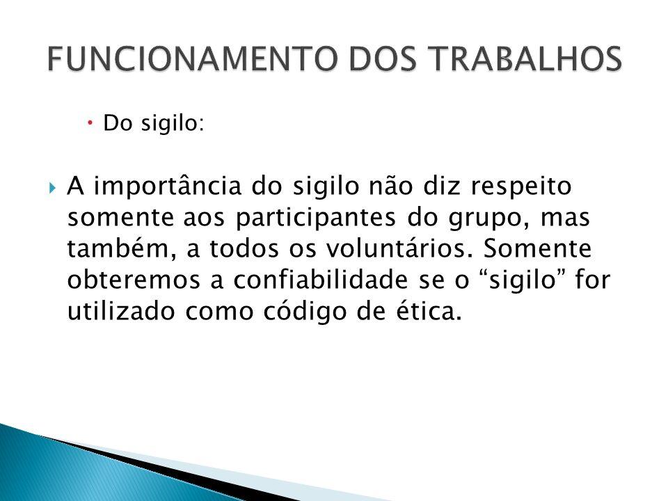 Do sigilo: A importância do sigilo não diz respeito somente aos participantes do grupo, mas também, a todos os voluntários. Somente obteremos a confia