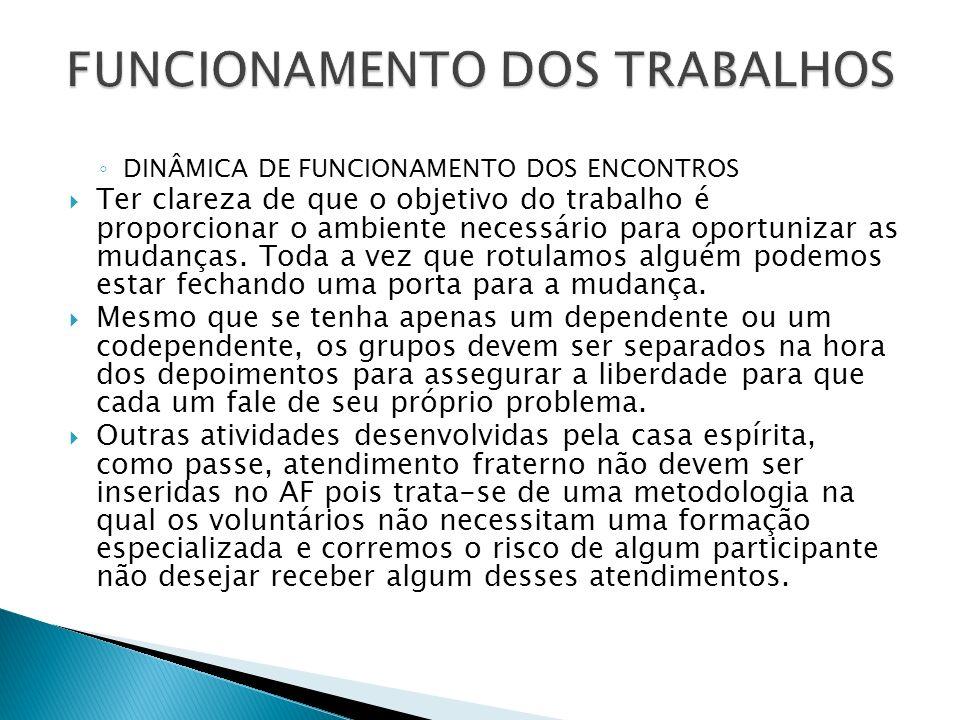 DINÂMICA DE FUNCIONAMENTO DOS ENCONTROS Ter clareza de que o objetivo do trabalho é proporcionar o ambiente necessário para oportunizar as mudanças. T