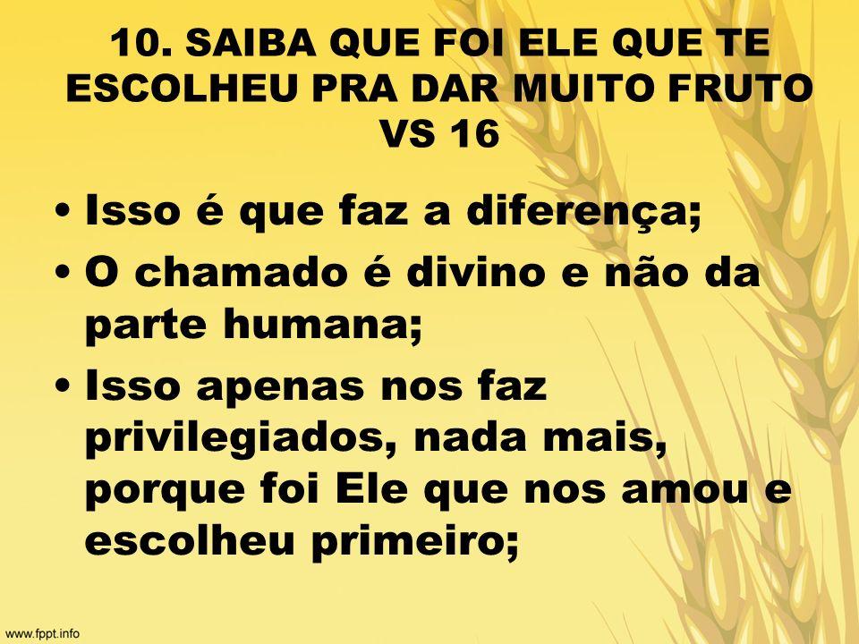 10. SAIBA QUE FOI ELE QUE TE ESCOLHEU PRA DAR MUITO FRUTO VS 16 Isso é que faz a diferença; O chamado é divino e não da parte humana; Isso apenas nos