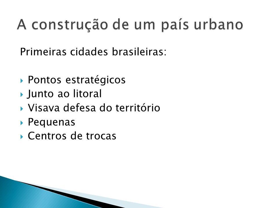 Primeiras cidades brasileiras: Pontos estratégicos Junto ao litoral Visava defesa do território Pequenas Centros de trocas