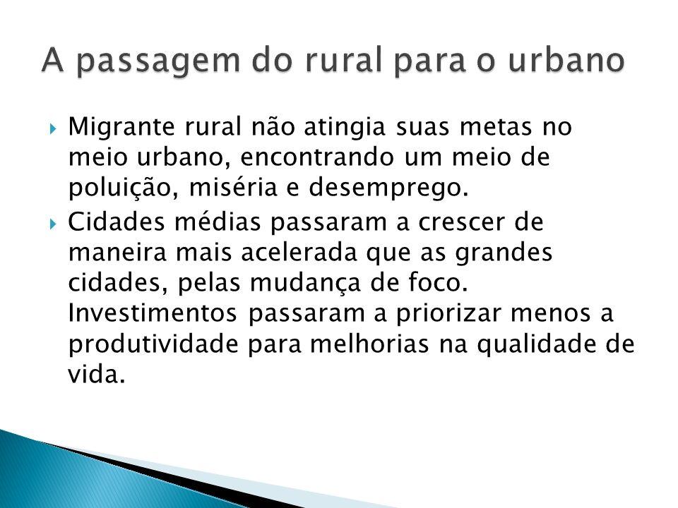 Migrante rural não atingia suas metas no meio urbano, encontrando um meio de poluição, miséria e desemprego. Cidades médias passaram a crescer de mane