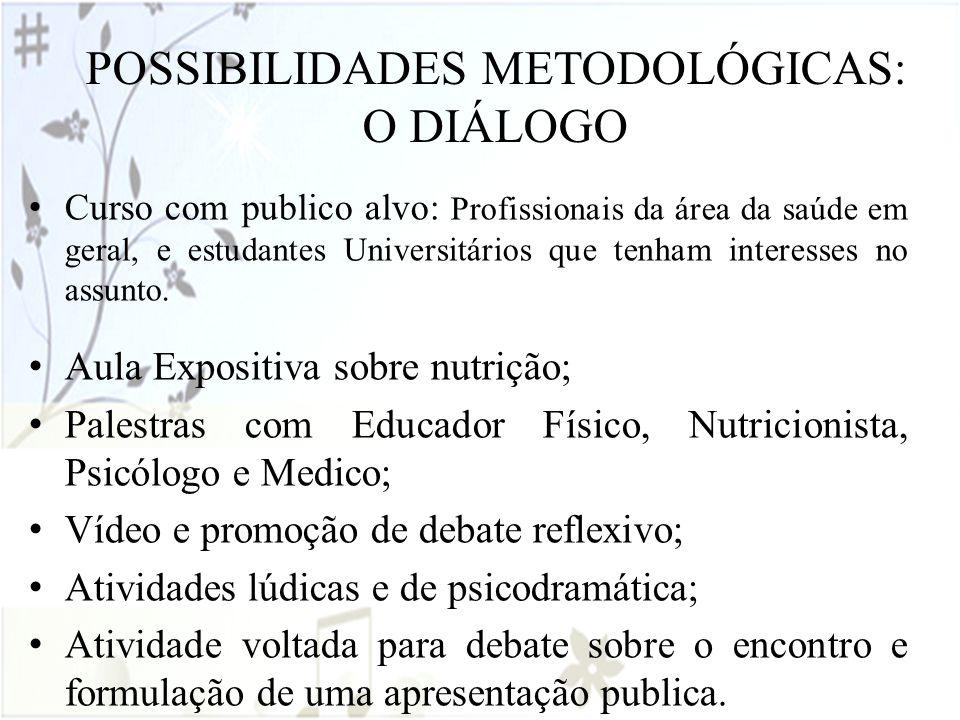 POSSIBILIDADES METODOLÓGICAS: O DIÁLOGO Curso com publico alvo: Profissionais da área da saúde em geral, e estudantes Universitários que tenham intere