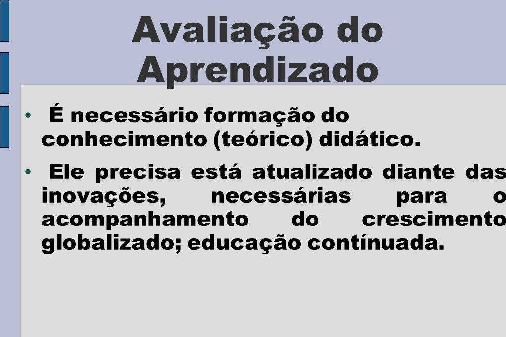 Avaliação do Aprendizado É necessário formação do conhecimento (teórico) didático.