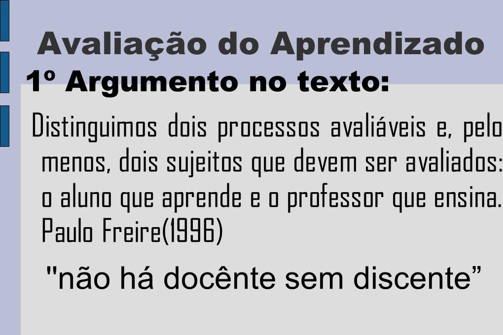 Avaliação do Aprendizado 1º Argumento no texto: Distinguimos dois processos avaliáveis e, pelo menos, dois sujeitos que devem ser avaliados: o aluno que aprende e o professor que ensina.