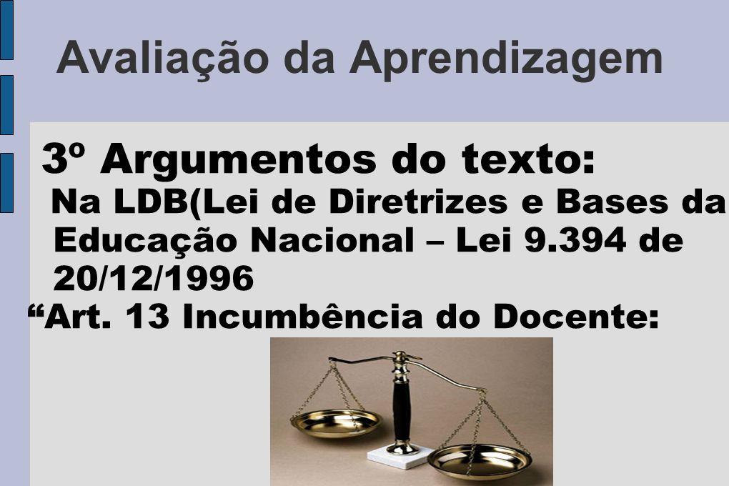 Avaliação da Aprendizagem 3º Argumentos do texto: Na LDB(Lei de Diretrizes e Bases da Educação Nacional – Lei 9.394 de 20/12/1996 Art. 13 Incumbência