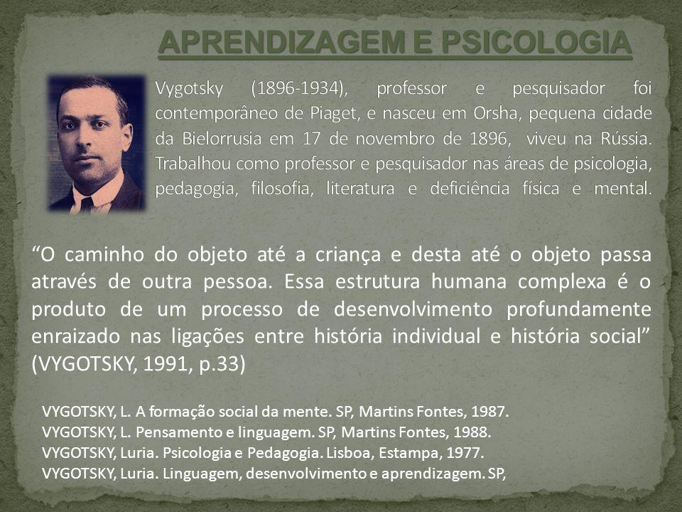 VYGOTSKY, L. A formação social da mente. SP, Martins Fontes, 1987. VYGOTSKY, L. Pensamento e linguagem. SP, Martins Fontes, 1988. VYGOTSKY, Luria. Psi