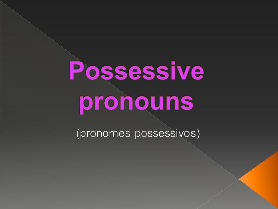 Significado Possessive Adjective Possessive pronouns meu, minha, meus, minhas MyMine seu, sua, seus, suas (de você) seu, sua, seus, suas (de você) Yours Yours dele (do homem) His His dela (da mulher) Her Hers dele, dela (animais, objetos, etc) Its Its nosso, nossa, nossos, nossas Our Ours seu, sua, seus, suas (de vocês) Your Yours deles, delas (de pessoas, de animais, de objetos, etc) Their Theirs