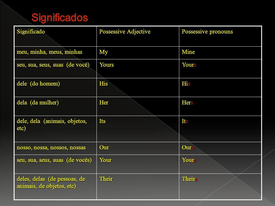 Significado Possessive Adjective Possessive pronouns meu, minha, meus, minhas MyMine seu, sua, seus, suas (de você) seu, sua, seus, suas (de você) You