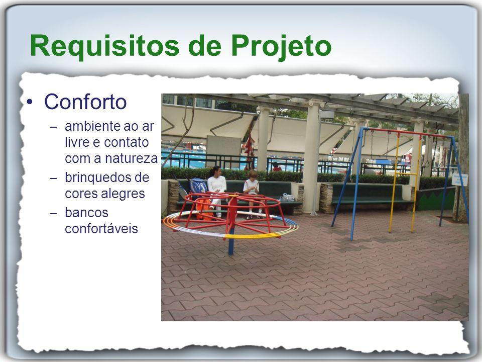 Conforto –ambiente ao ar livre e contato com a natureza –brinquedos de cores alegres –bancos confortáveis Requisitos de Projeto