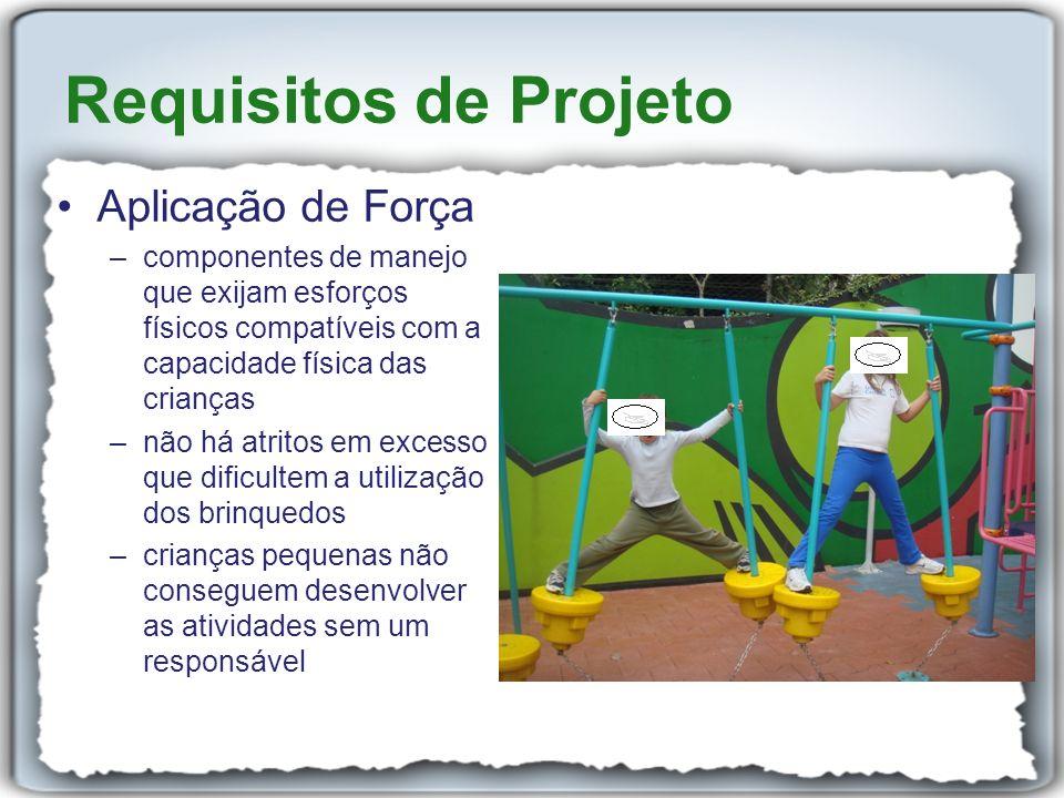 Aplicação de Força –componentes de manejo que exijam esforços físicos compatíveis com a capacidade física das crianças –não há atritos em excesso que