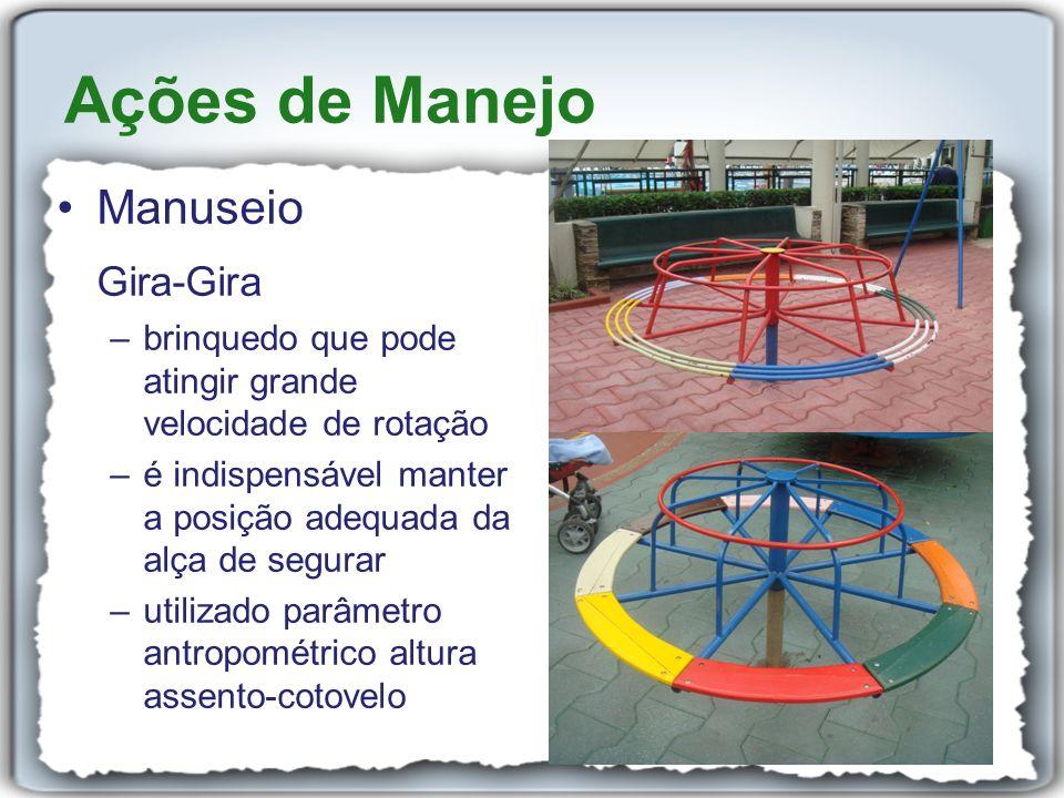 Manuseio Gira-Gira –brinquedo que pode atingir grande velocidade de rotação –é indispensável manter a posição adequada da alça de segurar –utilizado p