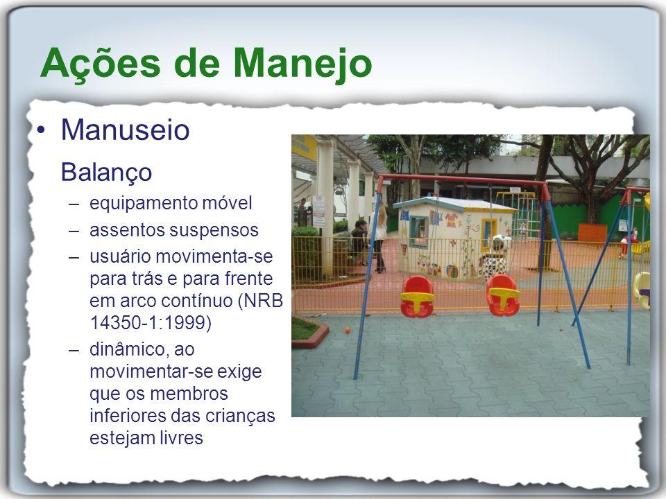 Manuseio Balanço –equipamento móvel –assentos suspensos –usuário movimenta-se para trás e para frente em arco contínuo (NRB 14350-1:1999) –dinâmico, a