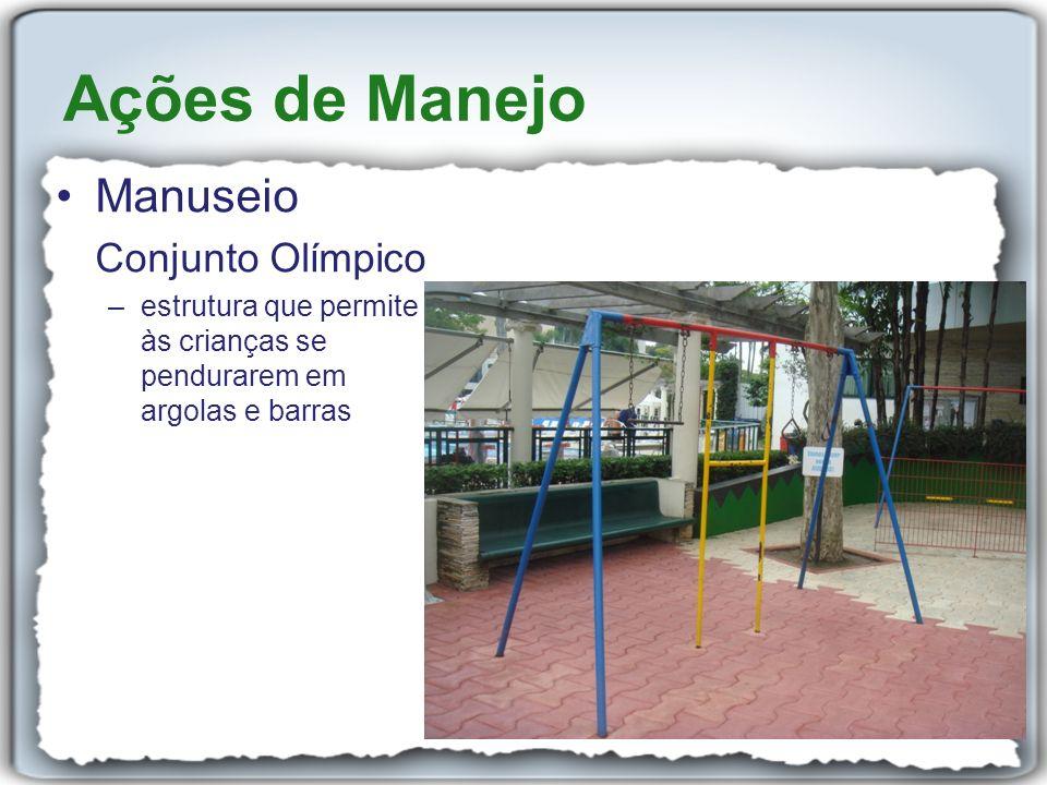 Manuseio Conjunto Olímpico –estrutura que permite às crianças se pendurarem em argolas e barras Ações de Manejo